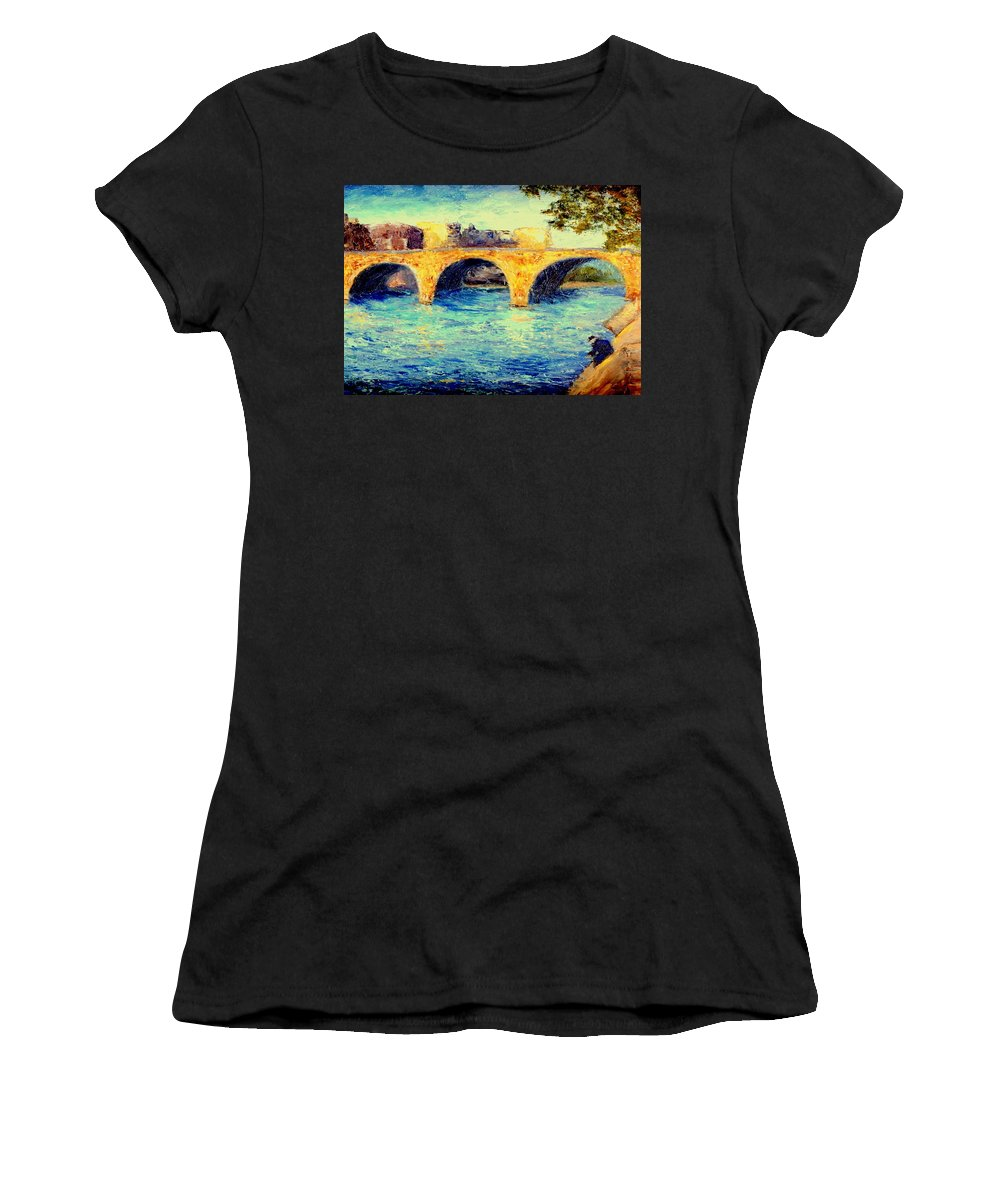 Impressionism Women's T-Shirt (Athletic Fit) featuring the painting River Seine Bridge by Gail Kirtz