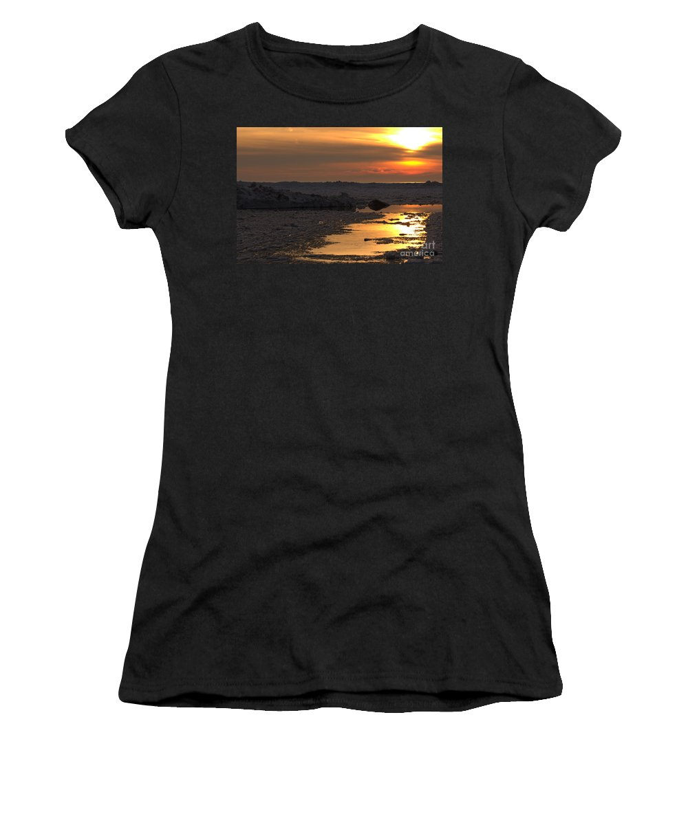 Grand Bend Women's T-Shirt (Athletic Fit) featuring the photograph River To The Sun 2 by John Scatcherd