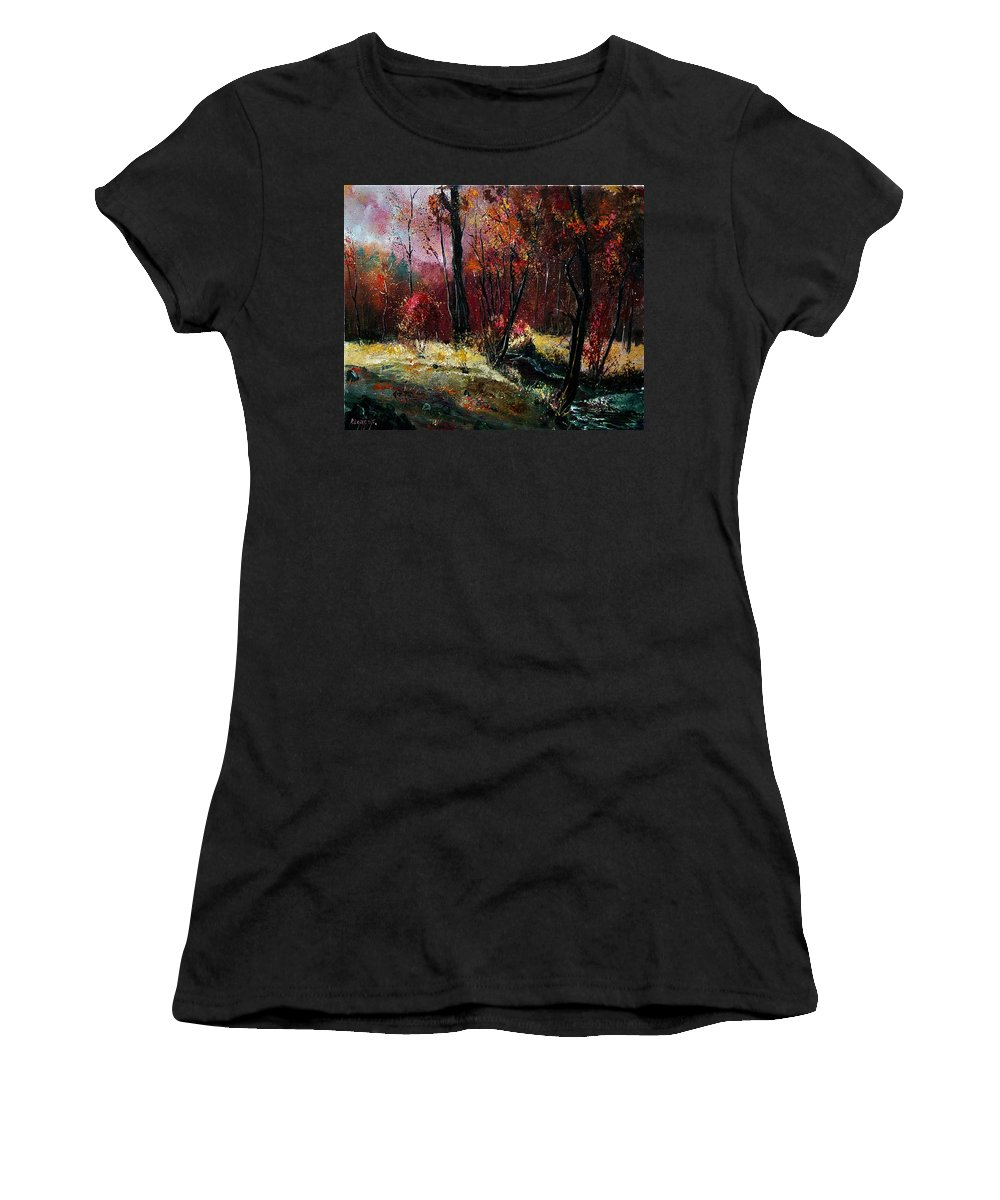 River Women's T-Shirt (Athletic Fit) featuring the painting River Ywoigne by Pol Ledent