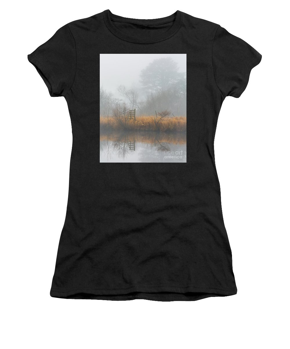 Landscape Women's T-Shirt (Athletic Fit) featuring the photograph Riverbank In The Fog by Tony Higginson