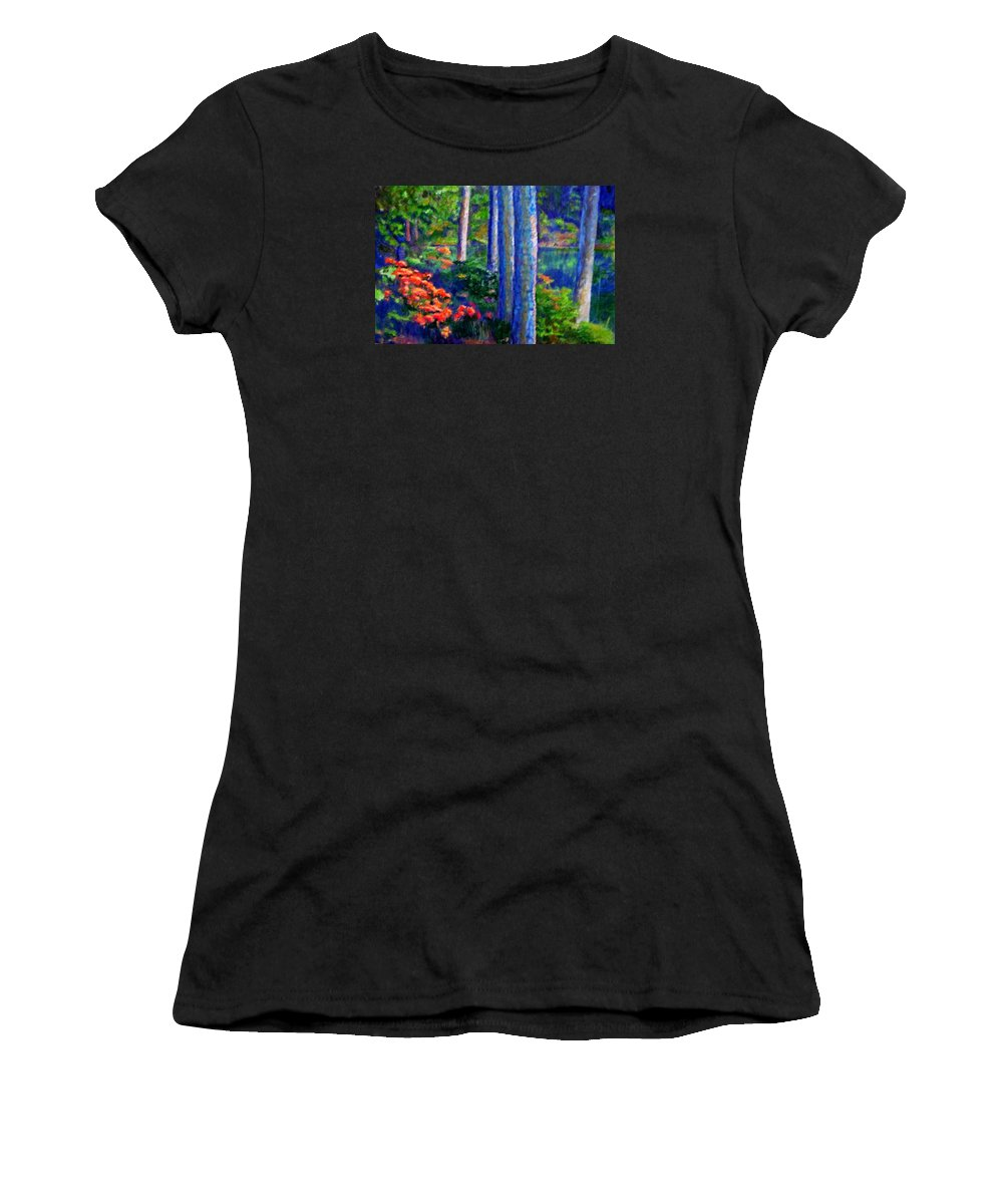 River Women's T-Shirt (Athletic Fit) featuring the painting Rivers Edge by Michael Durst