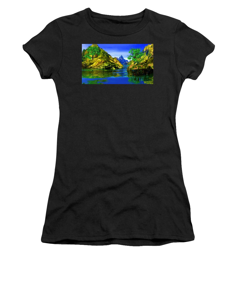 Landscape Women's T-Shirt (Athletic Fit) featuring the digital art Riverside by David Lane