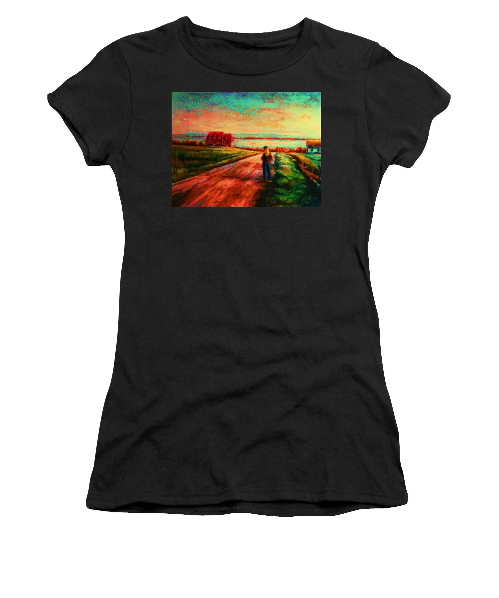 Mystery Road Women's T-Shirt (Athletic Fit) featuring the painting Road To Red Gables by Carole Spandau