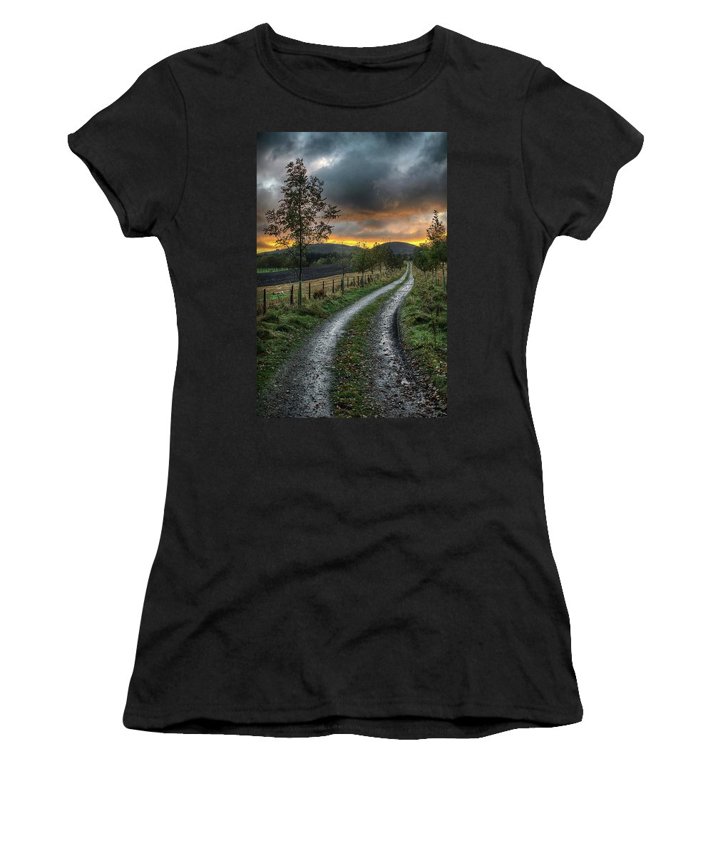 Sunset Women's T-Shirt (Athletic Fit) featuring the photograph Road To The Sunset by Colin Shearer