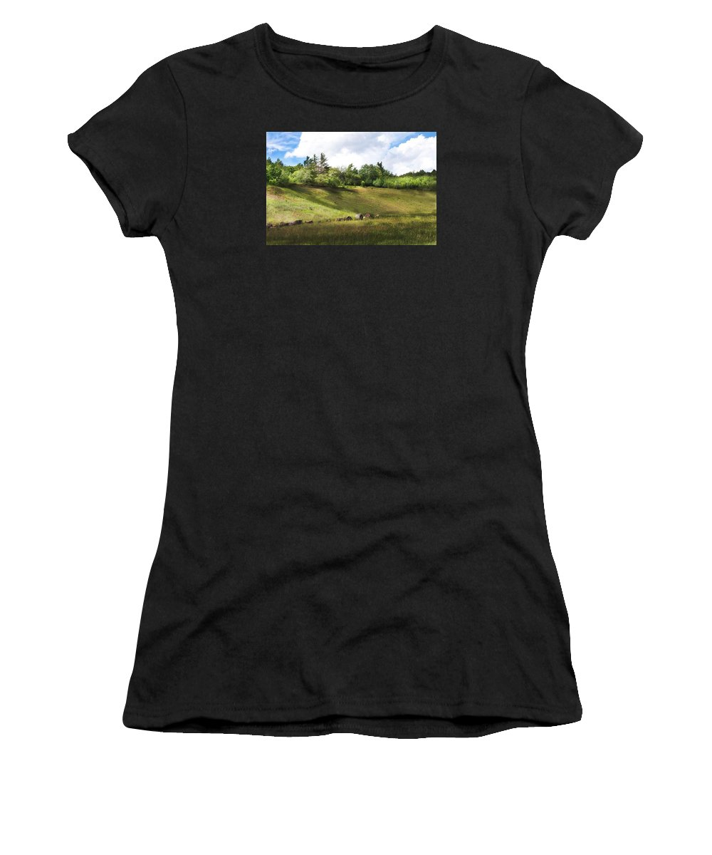 Michigan Women's T-Shirt (Athletic Fit) featuring the photograph Roadside Hill by Kendall Tabor
