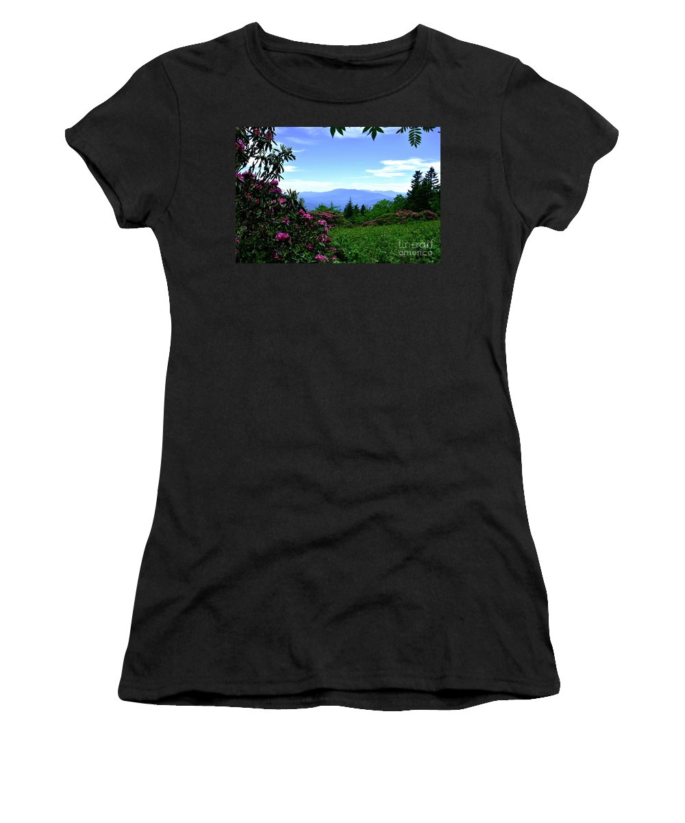 Pink Women's T-Shirt (Athletic Fit) featuring the photograph Roan Mountain Rhododendron Gardens by Christal Randolph