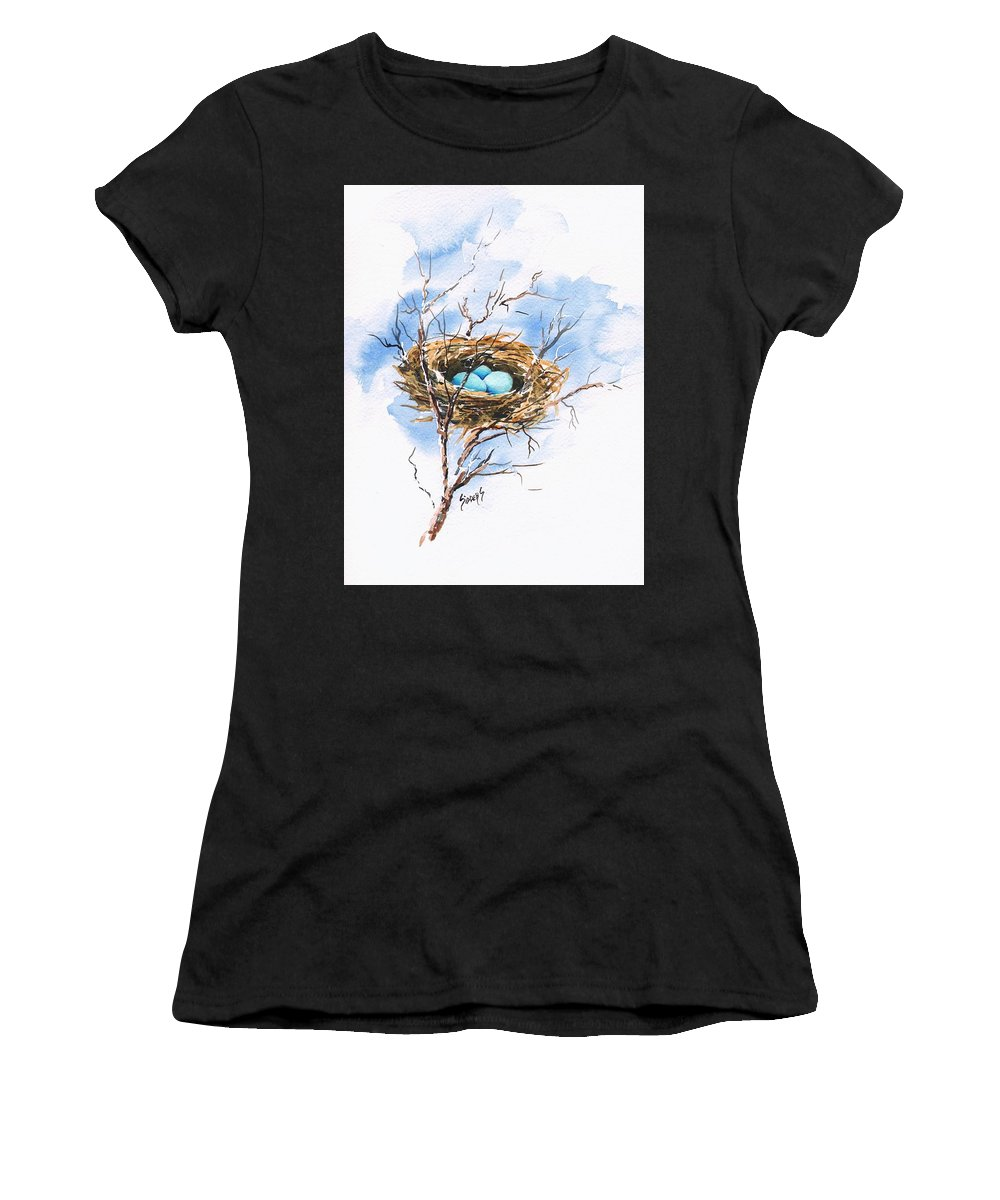 Nest Women's T-Shirt (Athletic Fit) featuring the painting Robin's Nest by Sam Sidders