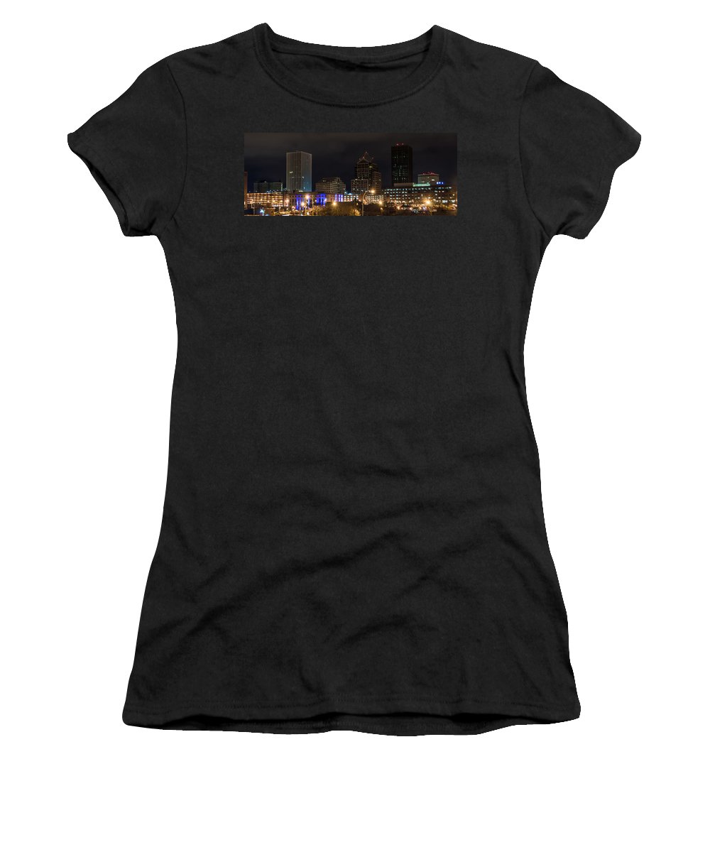 New York Women's T-Shirt (Athletic Fit) featuring the photograph Rochester Skyline From Freddie-sue Bridge by Ray Sheley