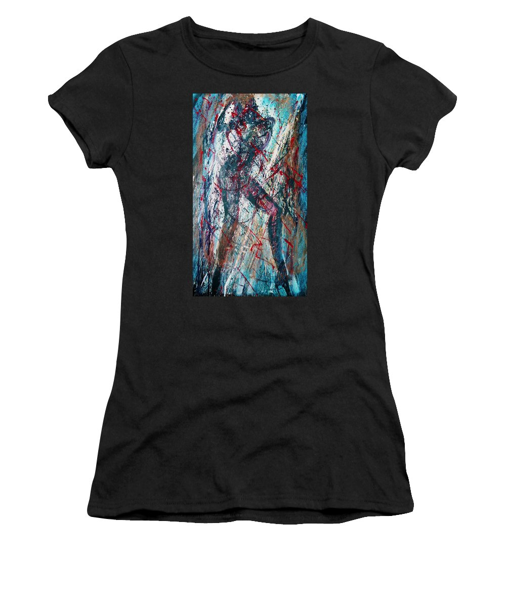 Beautiful Women's T-Shirt (Athletic Fit) featuring the painting Rock And Roll by Jarmo Korhonen aka Jarko