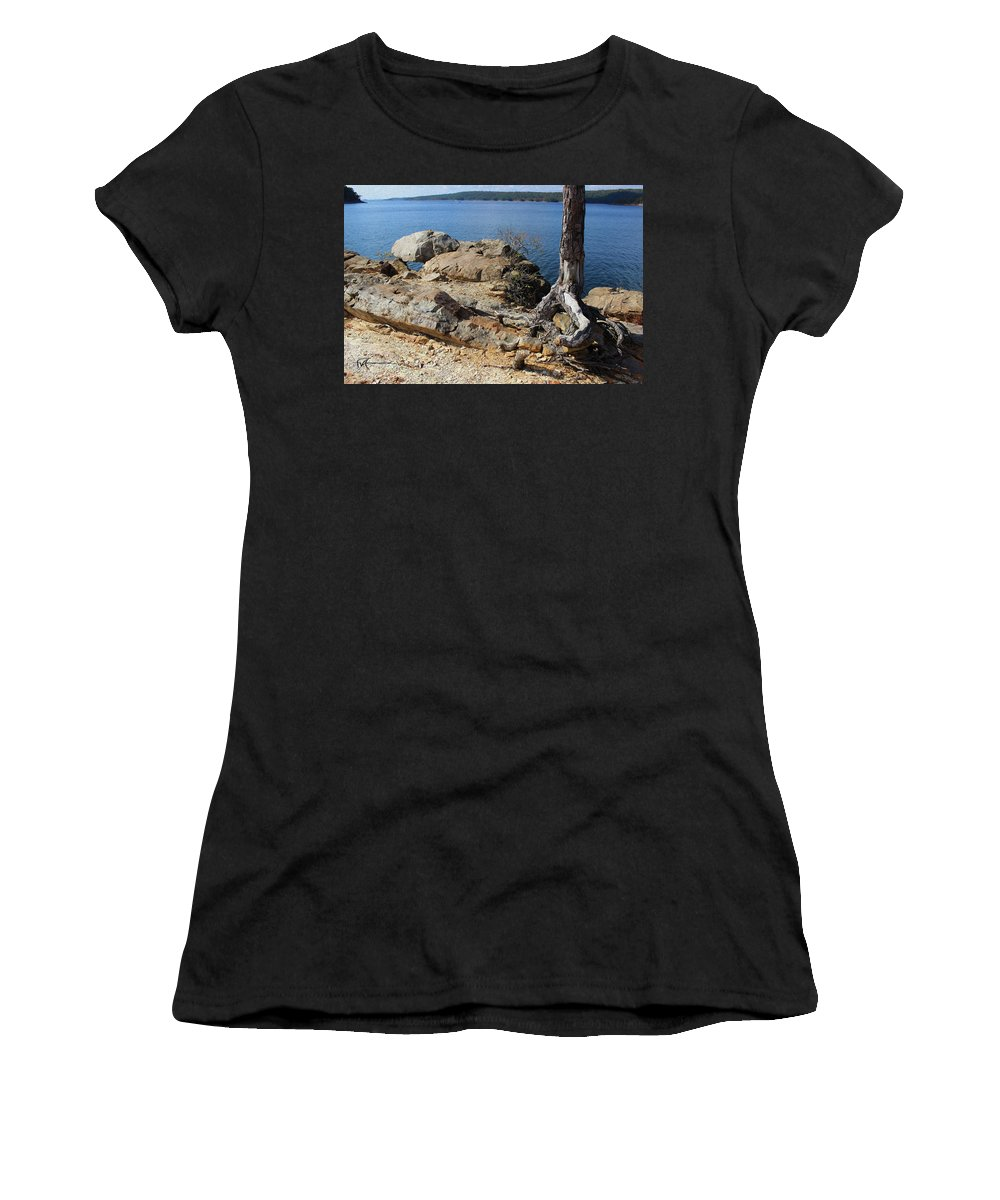 Outdoor Images Women's T-Shirt (Athletic Fit) featuring the photograph Rock And Root by Felipe Gomez