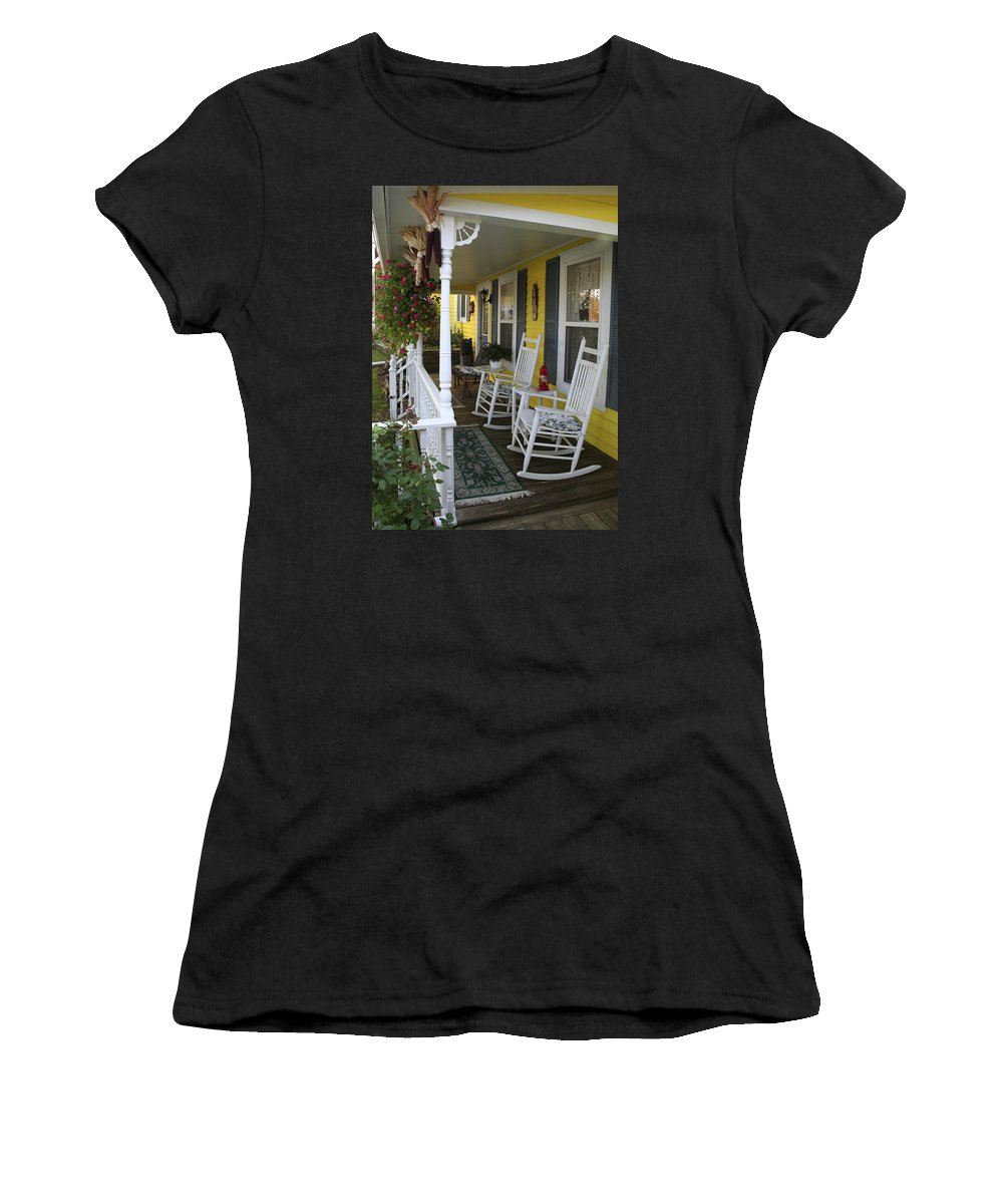 Rocking Chair Women's T-Shirt (Athletic Fit) featuring the photograph Rockers On The Porch by Margie Wildblood