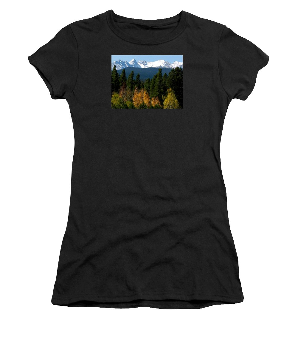 Rockies Women's T-Shirt (Athletic Fit) featuring the photograph Rockies Mtn M 204 by Sierra Dall