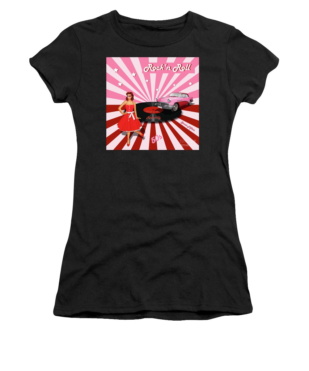 Pin_up Women's T-Shirt (Athletic Fit) featuring the digital art Rock'n Roll The Sweet Fifties by Monika Juengling