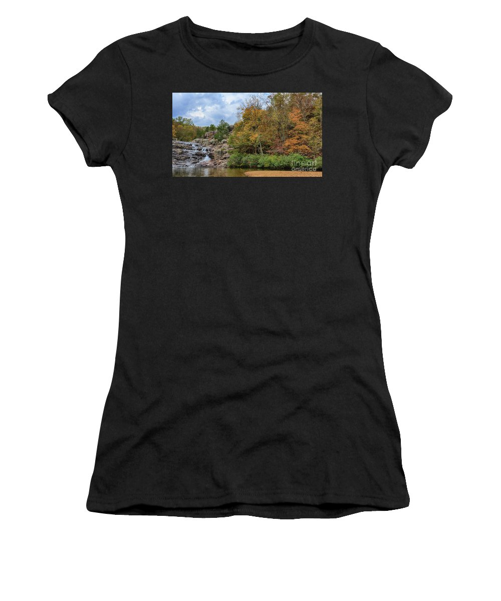 Eminence Missouri Women's T-Shirt (Athletic Fit) featuring the photograph Rocky Falls In The Fall by Terri Morris