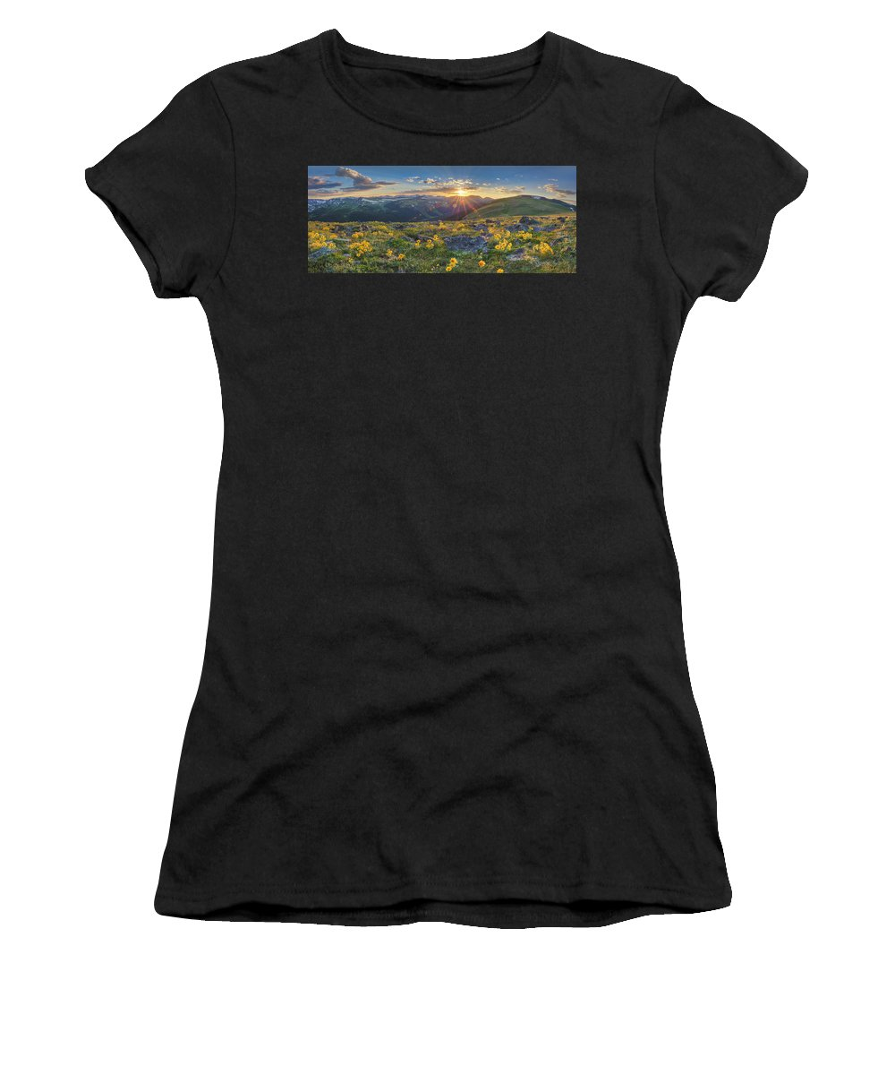 Colorado Wildflowers Women's T-Shirt featuring the photograph Rocky Mountain National Park Summer Sunflowers Pano 1 by Rob Greebon
