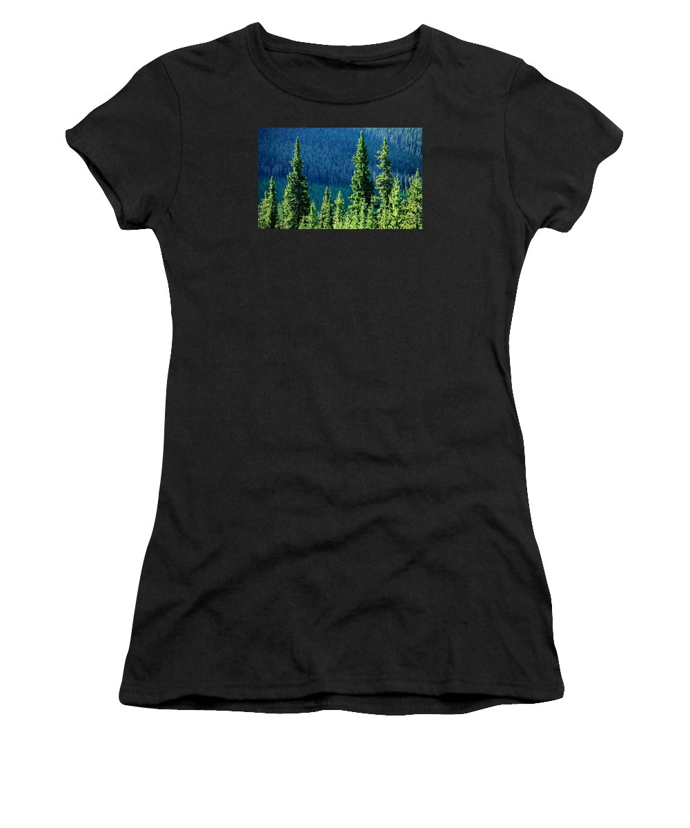 Ponderosa Women's T-Shirt (Athletic Fit) featuring the photograph Rocky Mountain Skyline by Todd Klassy