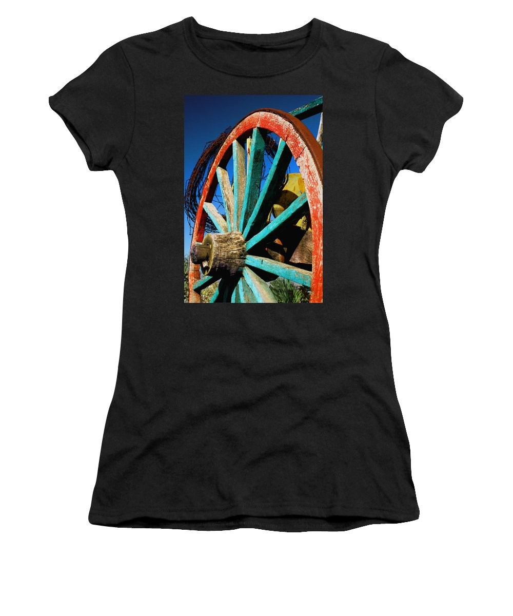 Wagon Wheel Women's T-Shirt (Athletic Fit) featuring the photograph Rode Hard And Put Up - Wagon Wheel Rustic Country Rural Antique by Jon Holiday