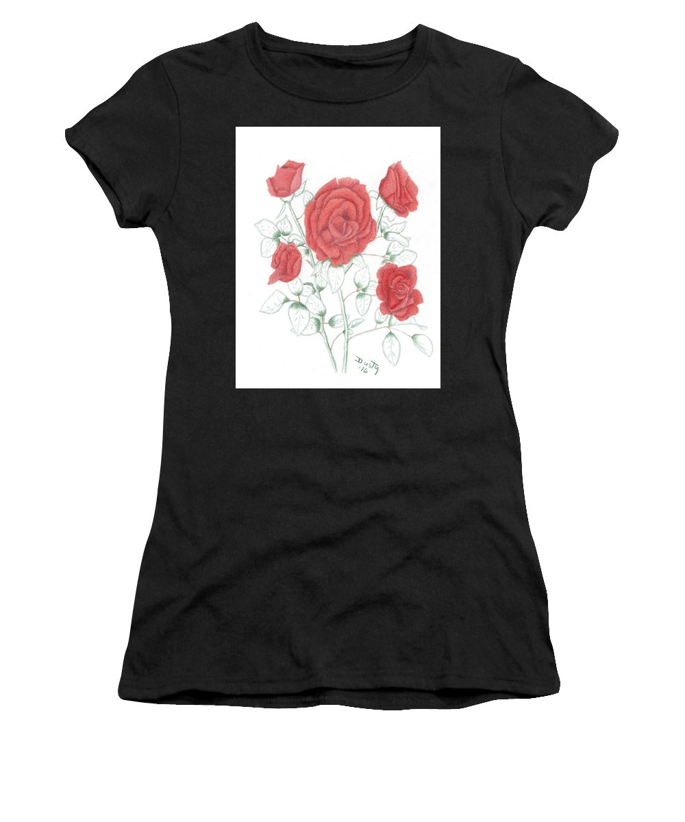 Rose Women's T-Shirt featuring the drawing Rojo Cinco by Dusty Reed