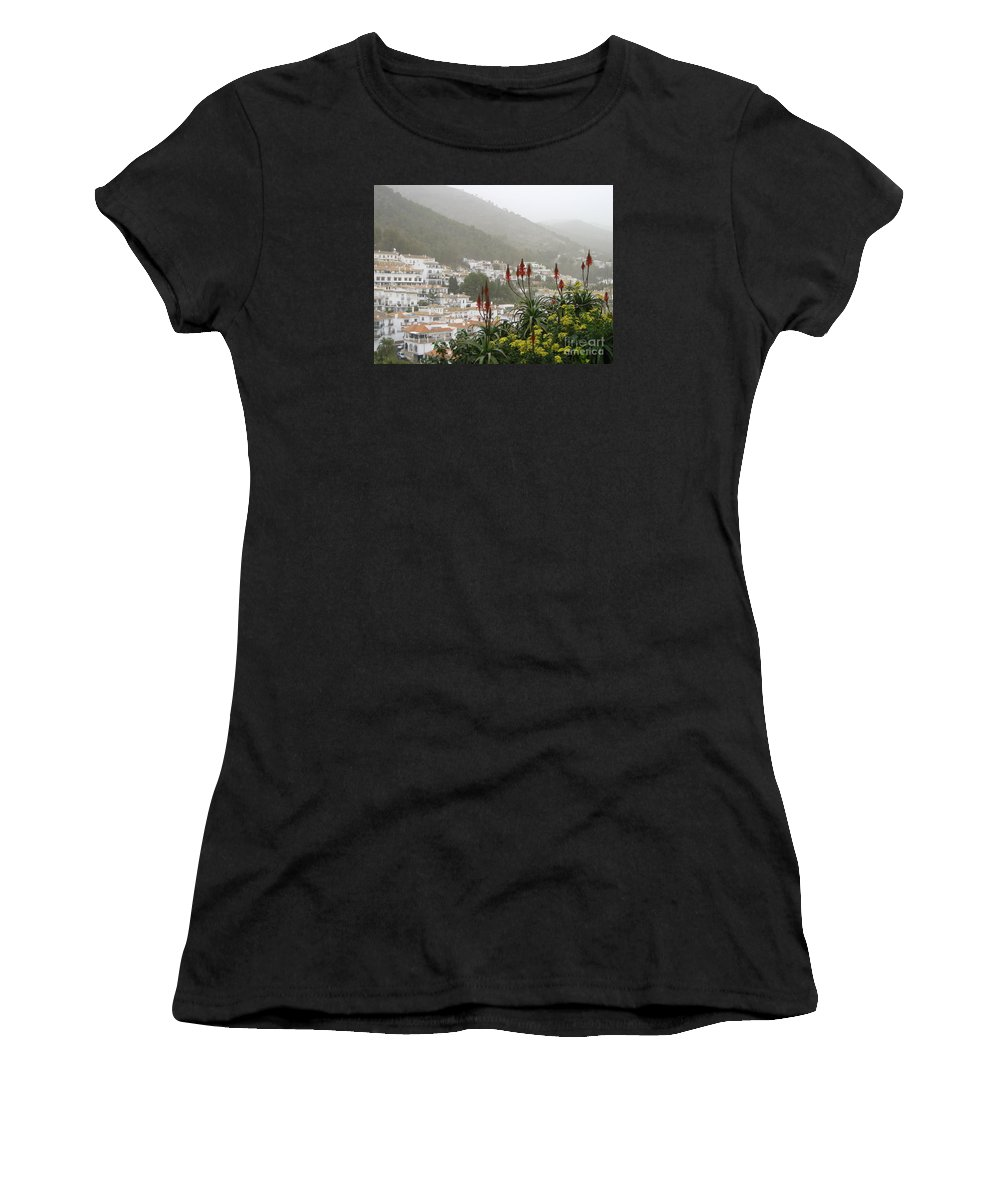 Spain Women's T-Shirt featuring the photograph Rojo In The Pueblos Blancos by Suzanne Oesterling