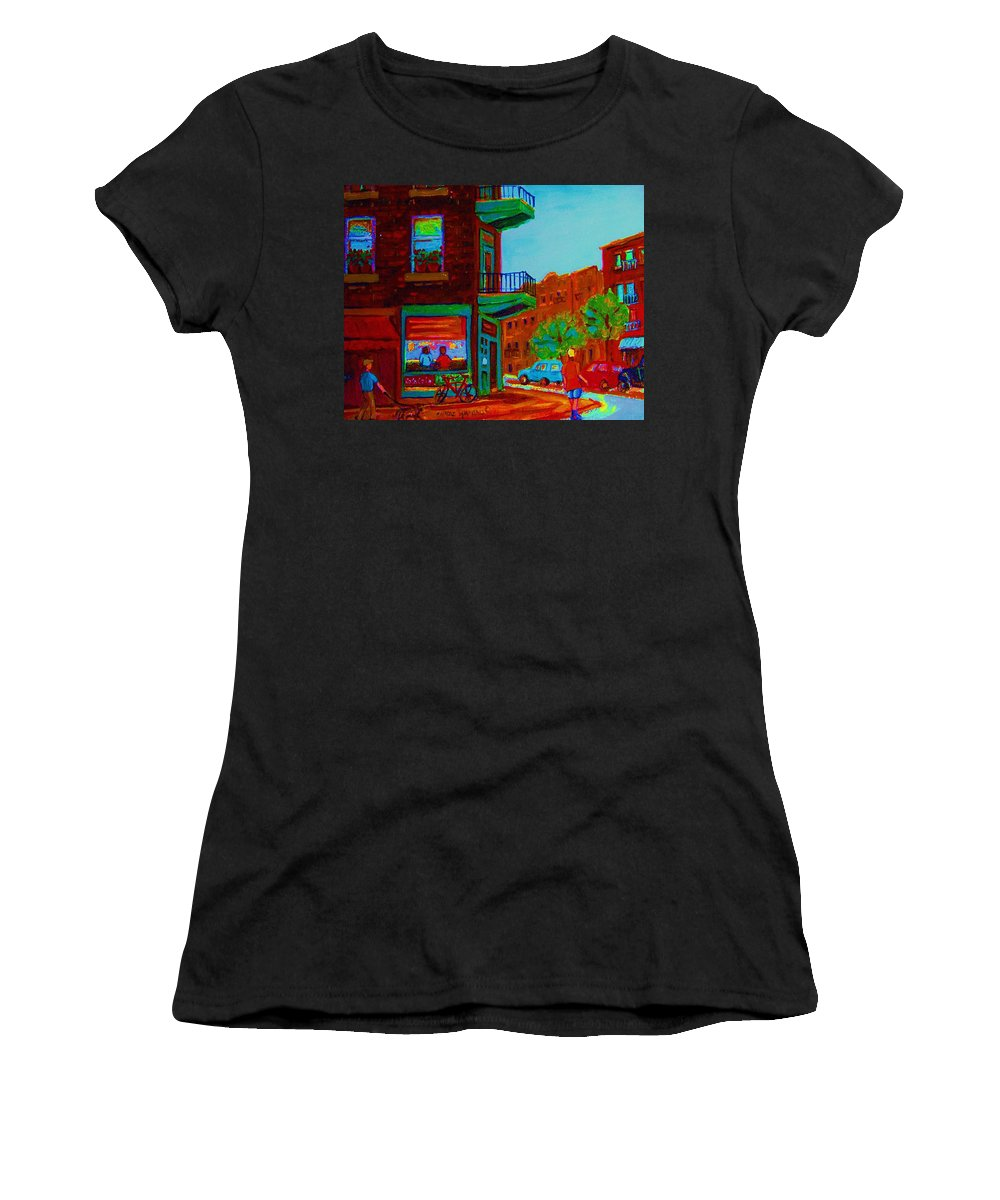 Wilenskys Women's T-Shirt (Athletic Fit) featuring the painting Rollerblading Past The Cafe by Carole Spandau