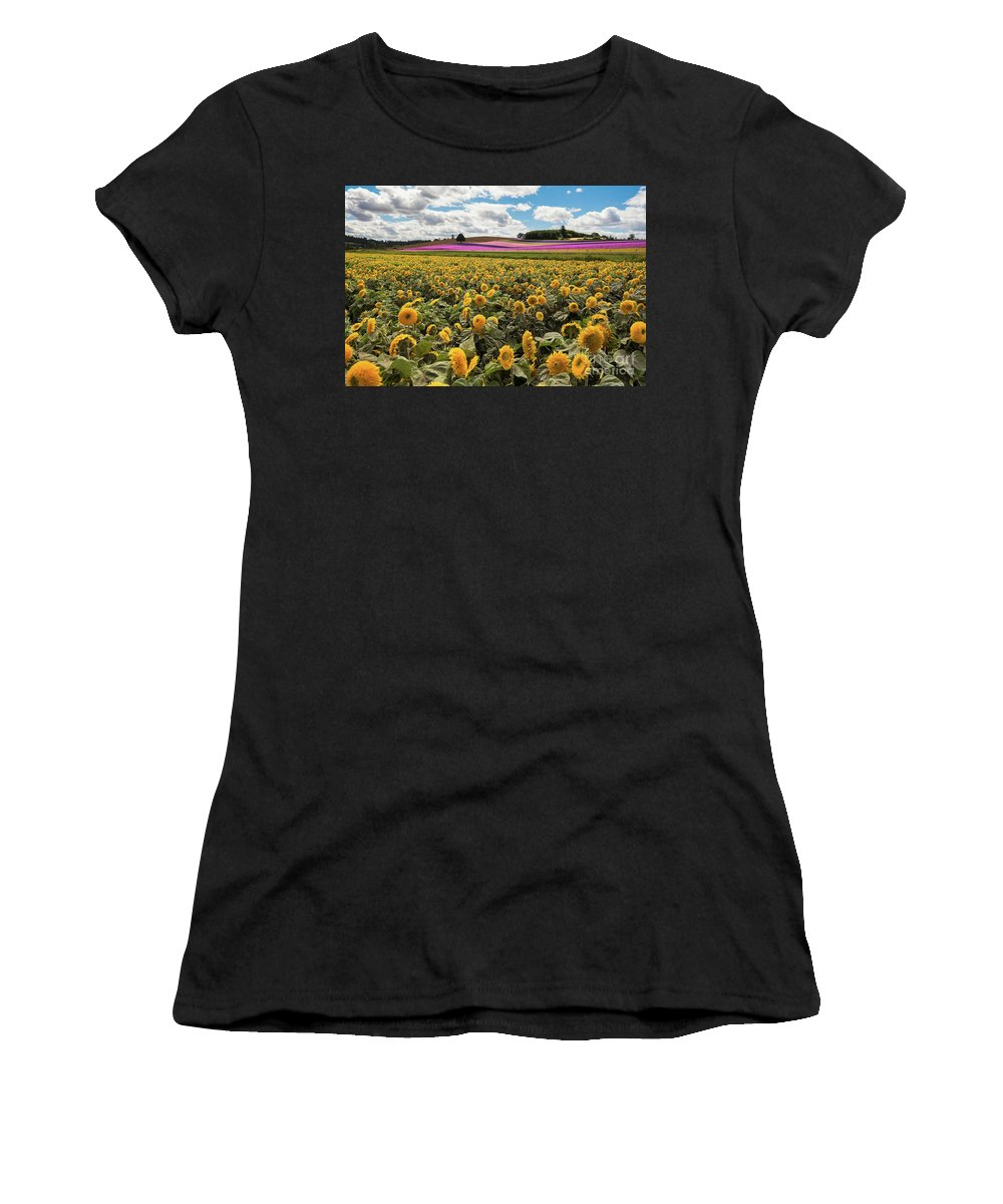 Cosmos Women's T-Shirt (Athletic Fit) featuring the photograph Rolling Hills Of Flowers In Summer by Jackie Follett