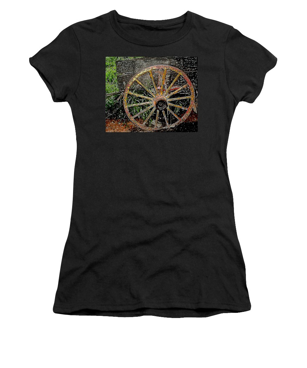 Wagon Wheel Women's T-Shirt (Athletic Fit) featuring the photograph Rolling No More by Wayne Potrafka