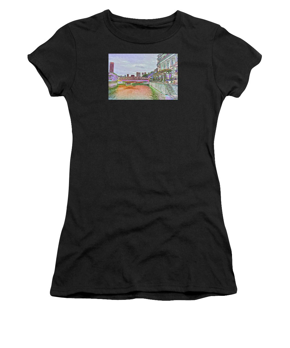 Cavenagh Bridge In Singapore Women's T-Shirt (Athletic Fit) featuring the digital art Romance At The Cavenagh by Marie Loh