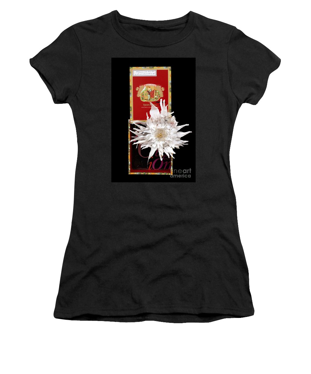 Cigar Box Women's T-Shirt (Athletic Fit) featuring the mixed media Romeo And Julietta by Jaime Becker