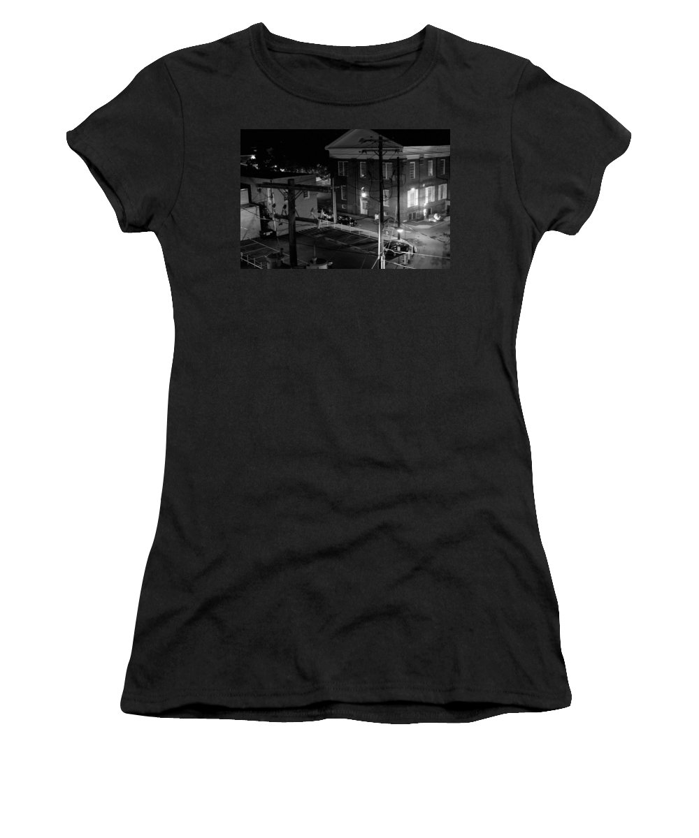 Black White Women's T-Shirt (Athletic Fit) featuring the photograph Rooftop Court by Jean Macaluso