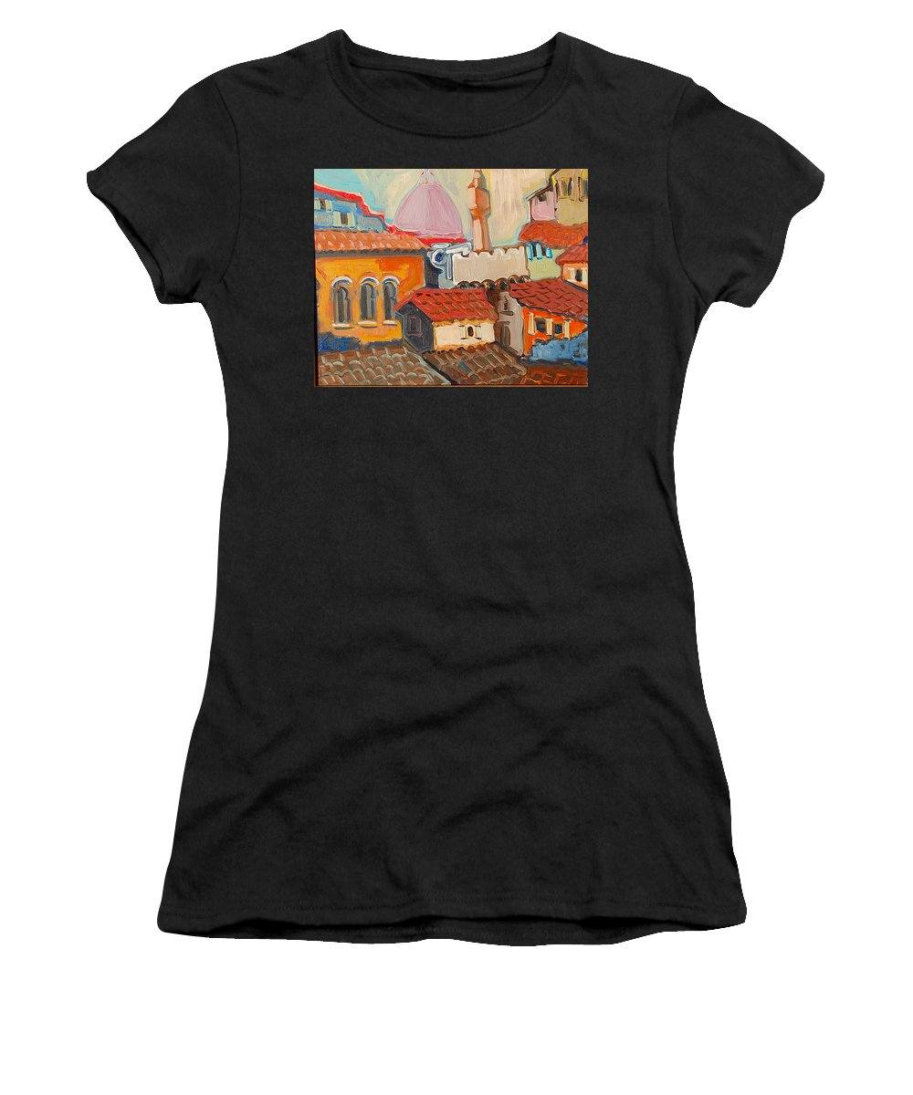 Florence Women's T-Shirt (Athletic Fit) featuring the painting Rooftops by Kurt Hausmann