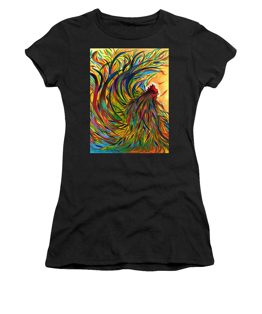 Roosters Women's T-Shirt featuring the mixed media Roosters Frienship by Fanny Diaz