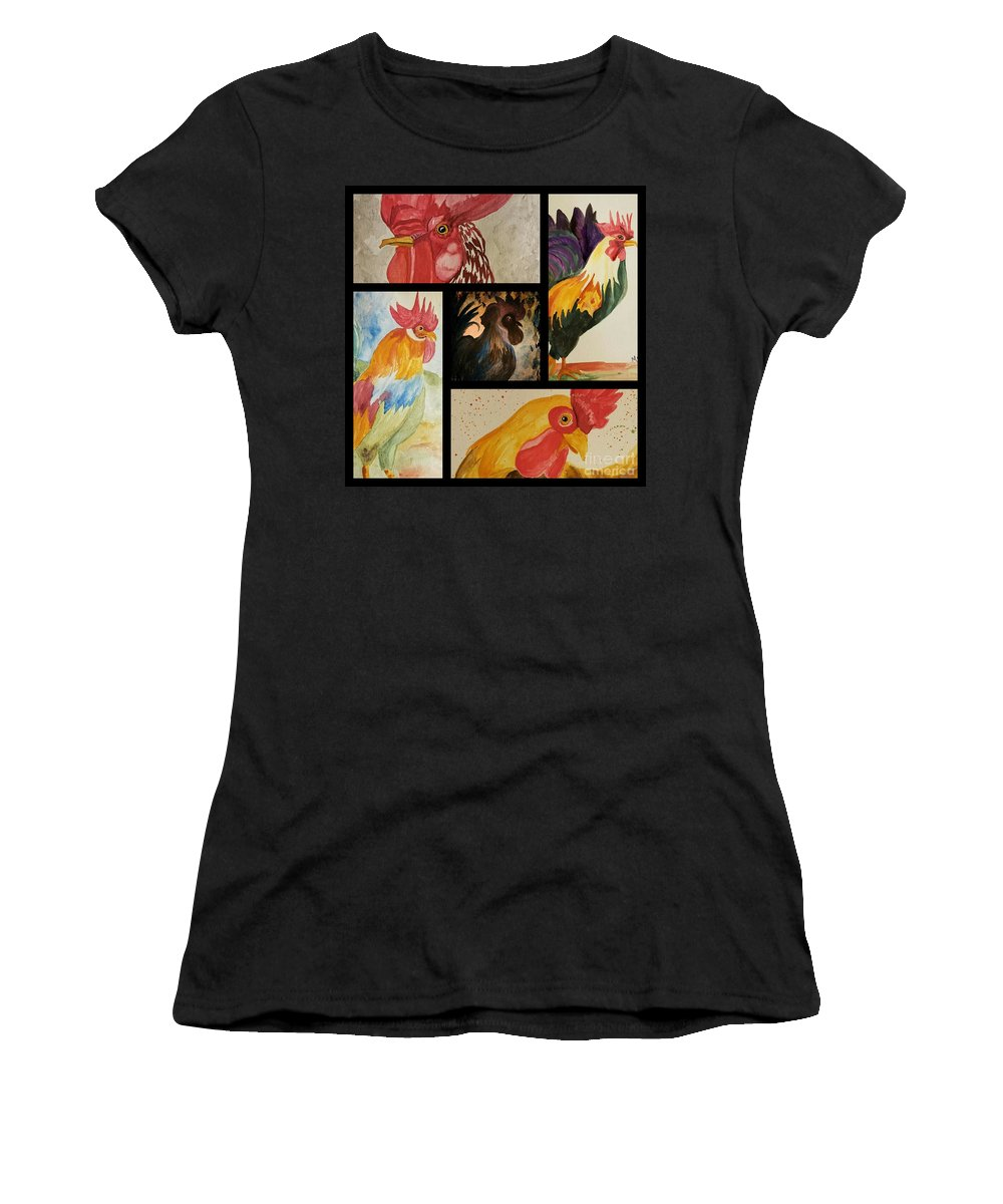 Roosters Women's T-Shirt (Athletic Fit) featuring the painting Roosters by Maria Urso