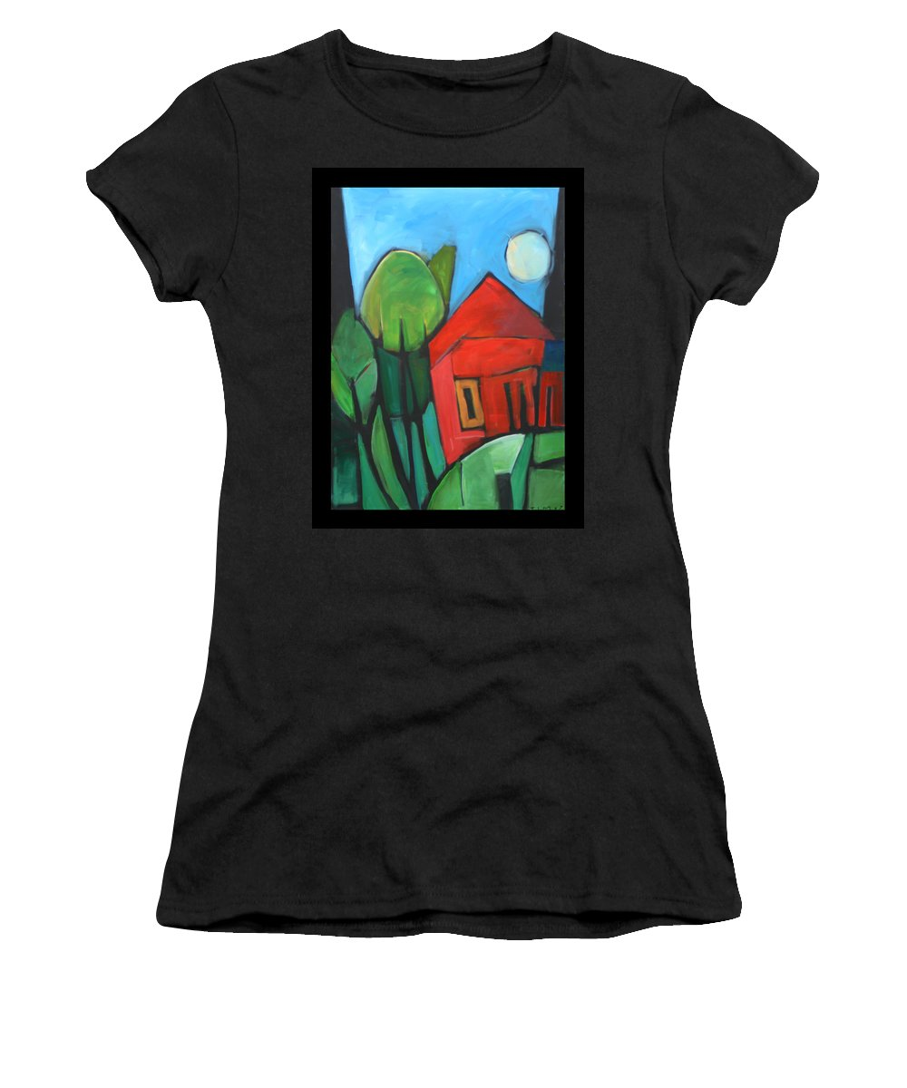 Trees Women's T-Shirt (Athletic Fit) featuring the painting Root Cellar by Tim Nyberg