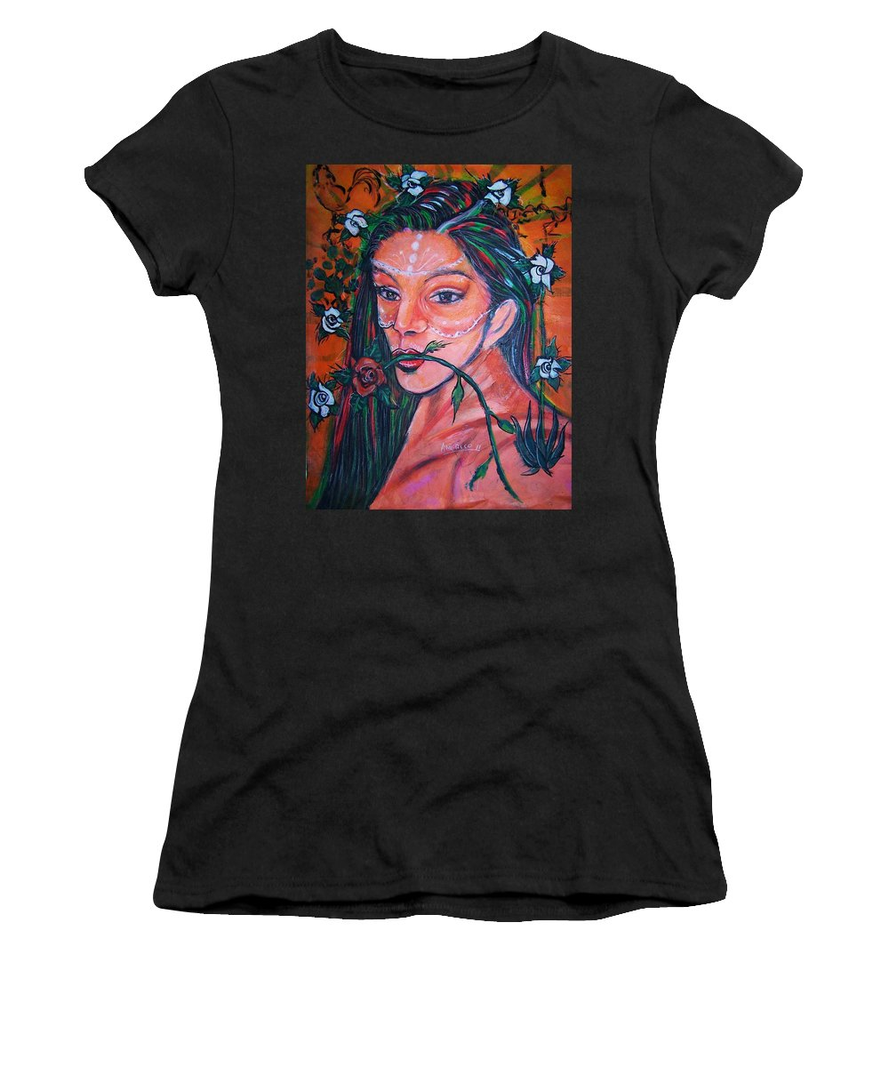 Latina Women's T-Shirt (Athletic Fit) featuring the painting Rosales Latina by Americo Salazar