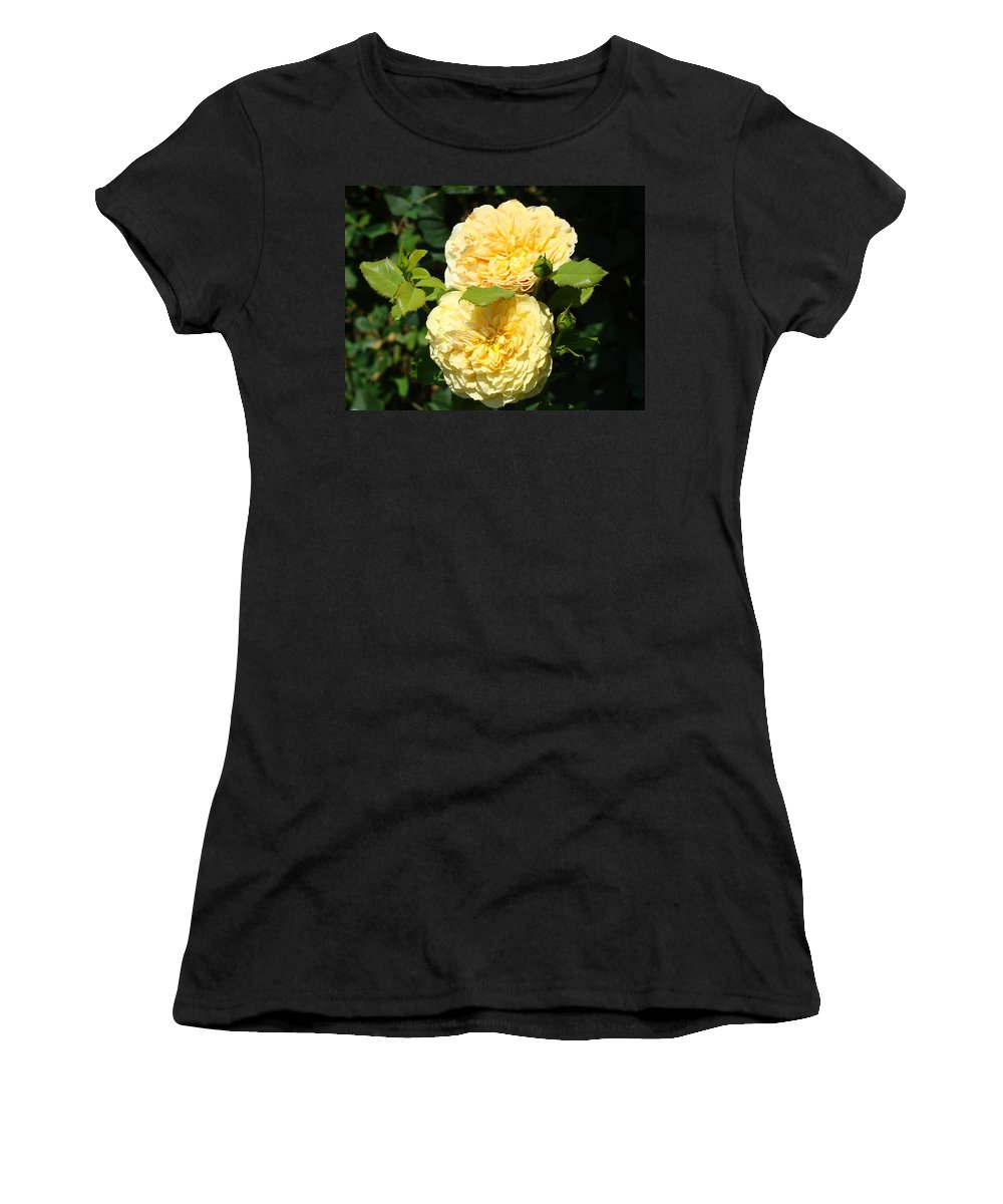 Rose Women's T-Shirt (Athletic Fit) featuring the photograph Rose Garden Floral Art Print Yellow Roses Canvas Baslee Troutman by Baslee Troutman
