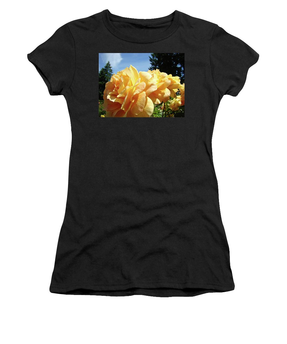 Rose Women's T-Shirt (Athletic Fit) featuring the photograph Rose Garden Yellow Peach Orange Roses Flowers 3 Botanical Art Baslee Troutman by Baslee Troutman