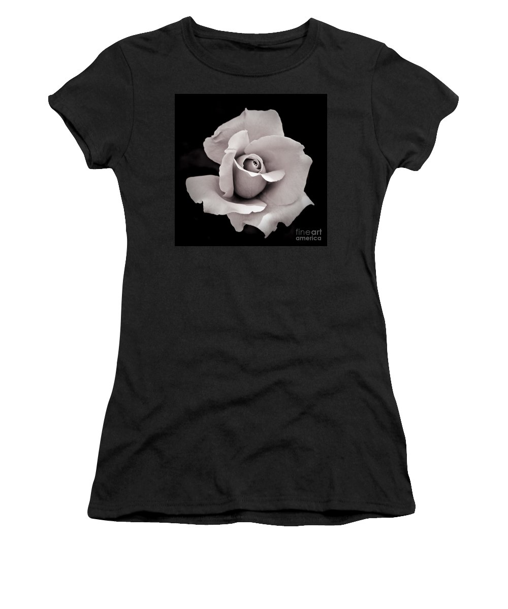 Black Women's T-Shirt (Athletic Fit) featuring the photograph Rose by Hitendra SINKAR