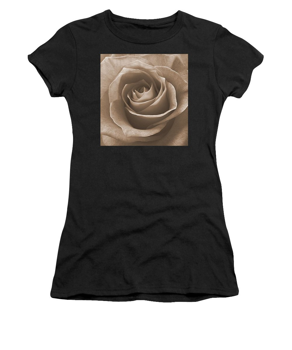 Rose Sepia Pedals Women's T-Shirt featuring the photograph Rose In Sepia by Luciana Seymour