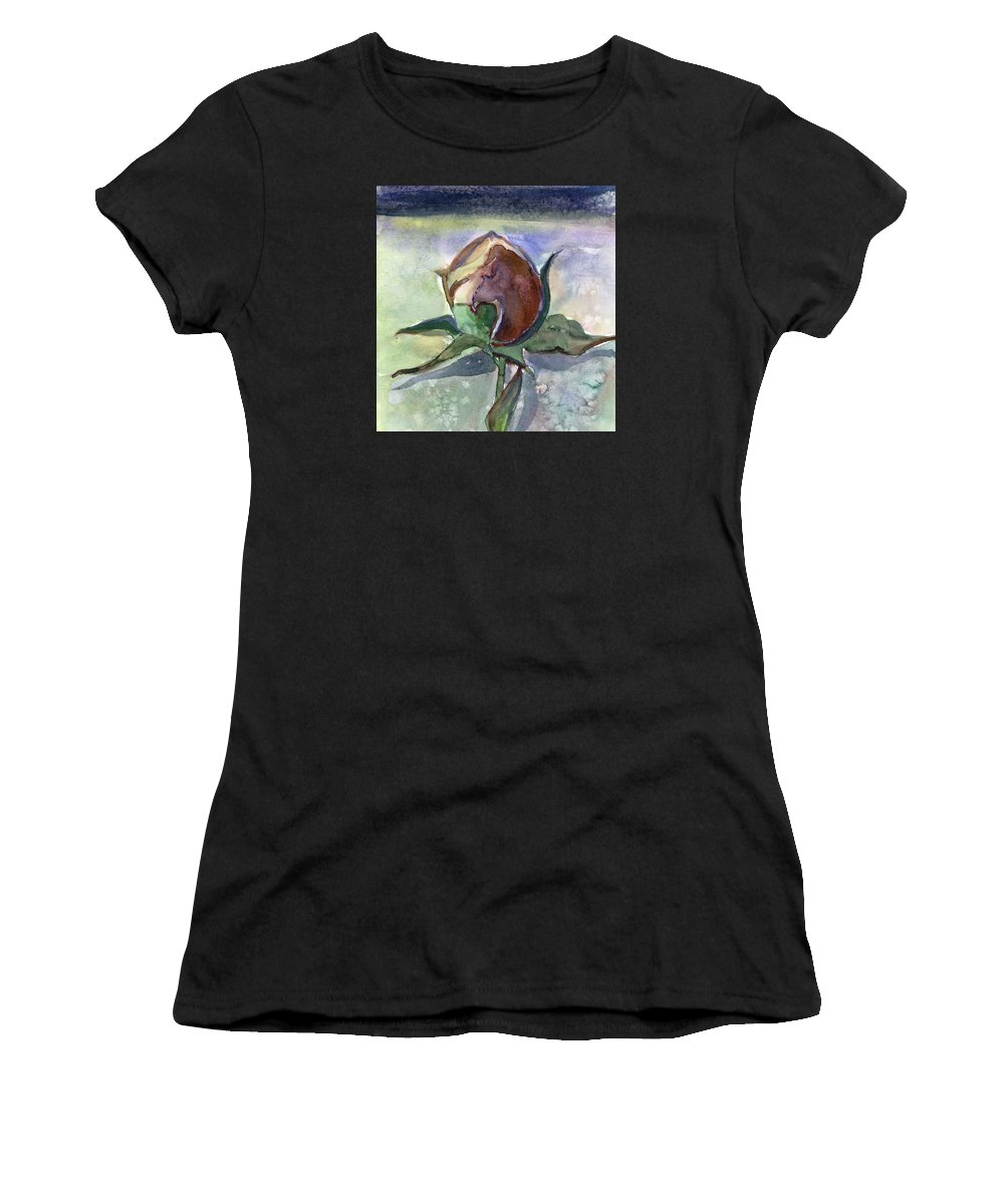 Rose Women's T-Shirt (Athletic Fit) featuring the painting Rose In The Snow by Mindy Newman