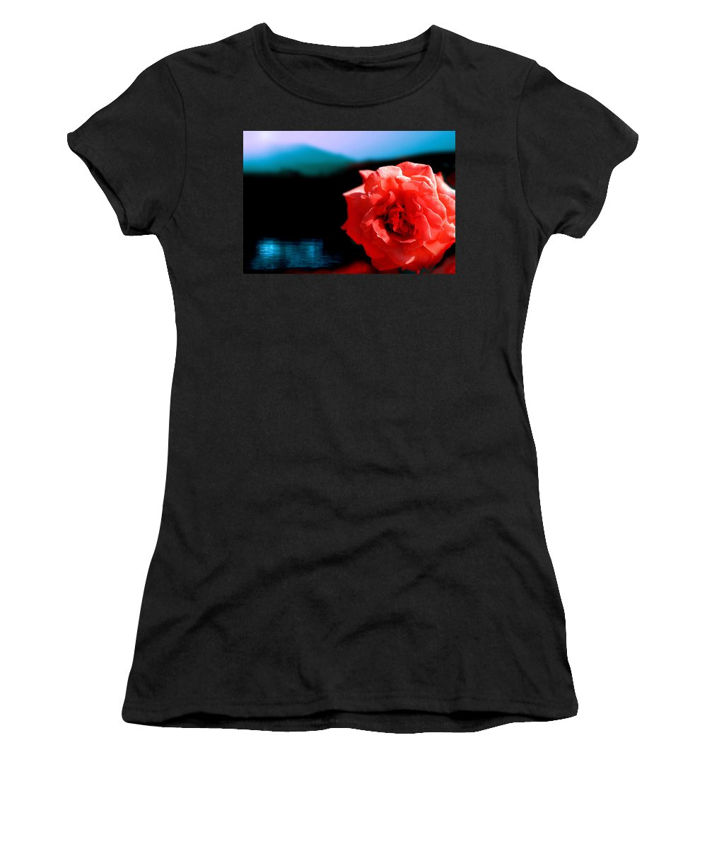 Rose Women's T-Shirt (Athletic Fit) featuring the photograph Rose Lake by Mal Bray