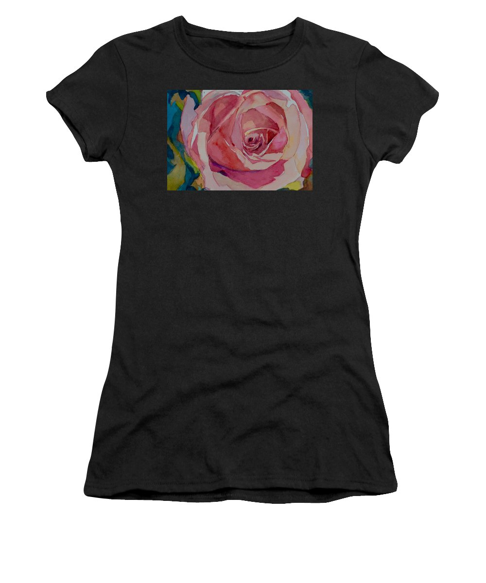 Floral Rose Women's T-Shirt (Athletic Fit) featuring the painting Roses And More by Jo Mackenzie