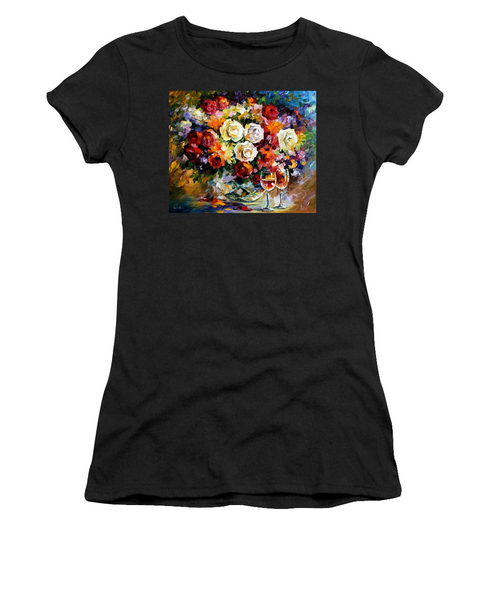 Still Life Women's T-Shirt (Athletic Fit) featuring the painting Roses And Wine by Leonid Afremov