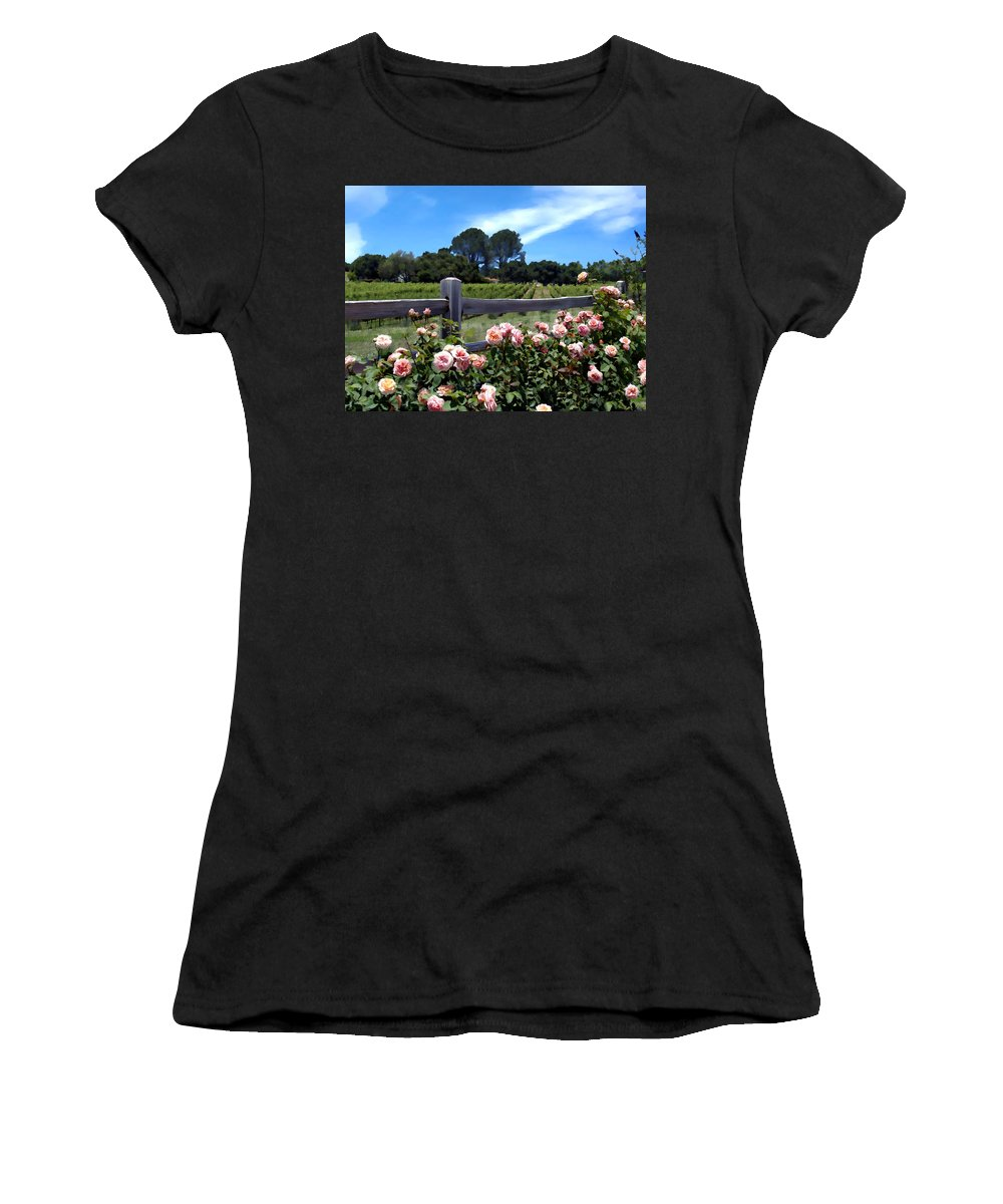 Flowers Women's T-Shirt (Athletic Fit) featuring the photograph Roses At Rusack Vineyards by Kurt Van Wagner