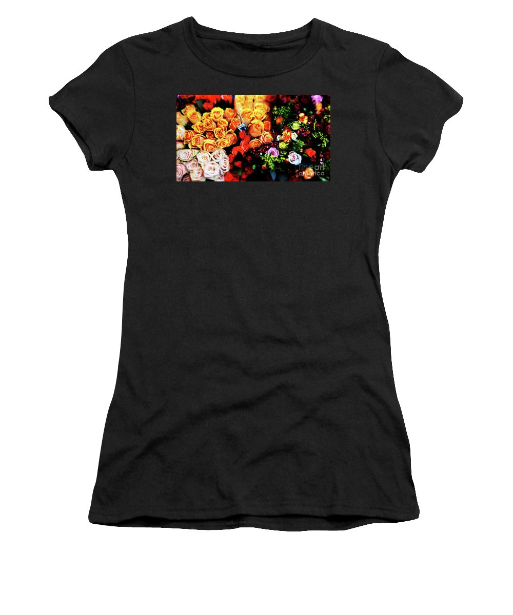 Bouquets Women's T-Shirt (Athletic Fit) featuring the photograph Roses Bouquet by Ofer Zilberstein