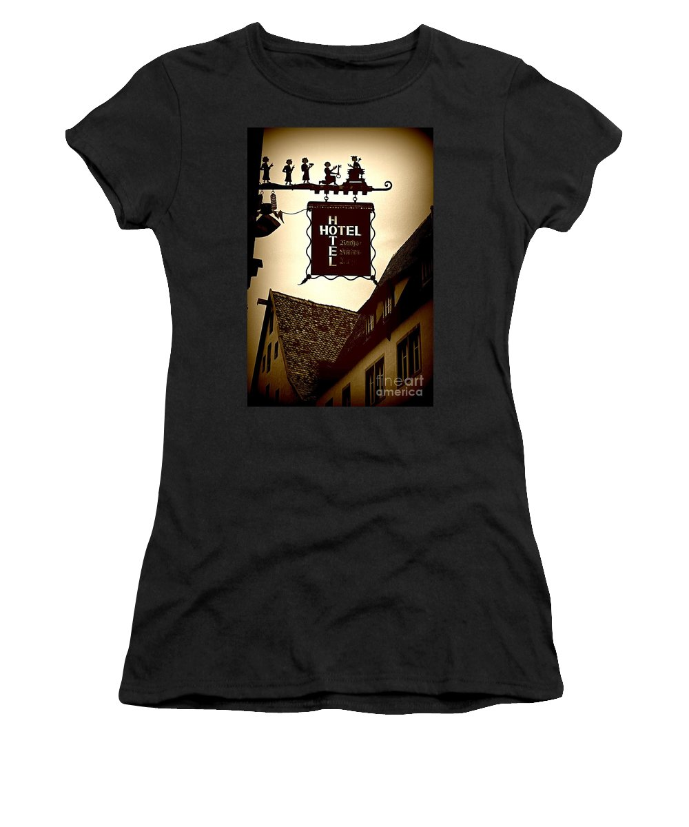 Hotel Sign Women's T-Shirt (Athletic Fit) featuring the photograph Rothenburg Hotel Sign - Digital by Carol Groenen