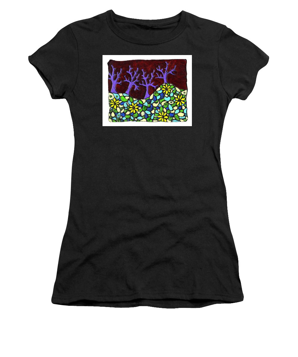 Trees Women's T-Shirt (Athletic Fit) featuring the painting Royal Forest by Wayne Potrafka