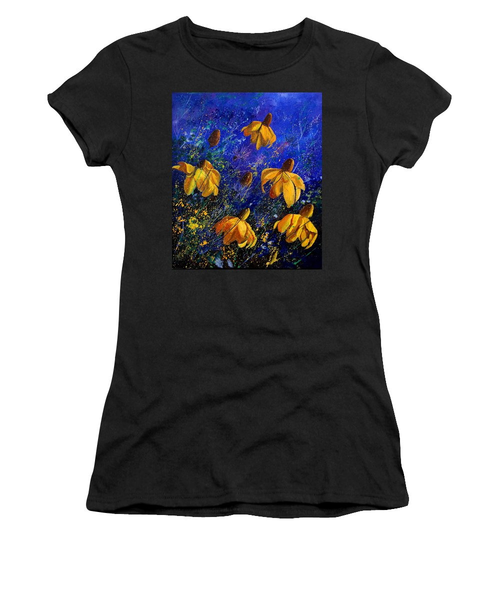 Poppies Women's T-Shirt (Athletic Fit) featuring the painting Rudbeckia's by Pol Ledent