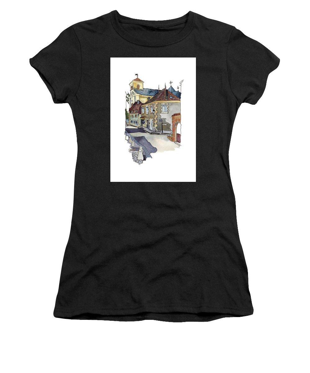 Dordogne Village Women's T-Shirt (Athletic Fit) featuring the painting Rue Font St Jean, Ste Alvere, Dordogne by Joan Cordell
