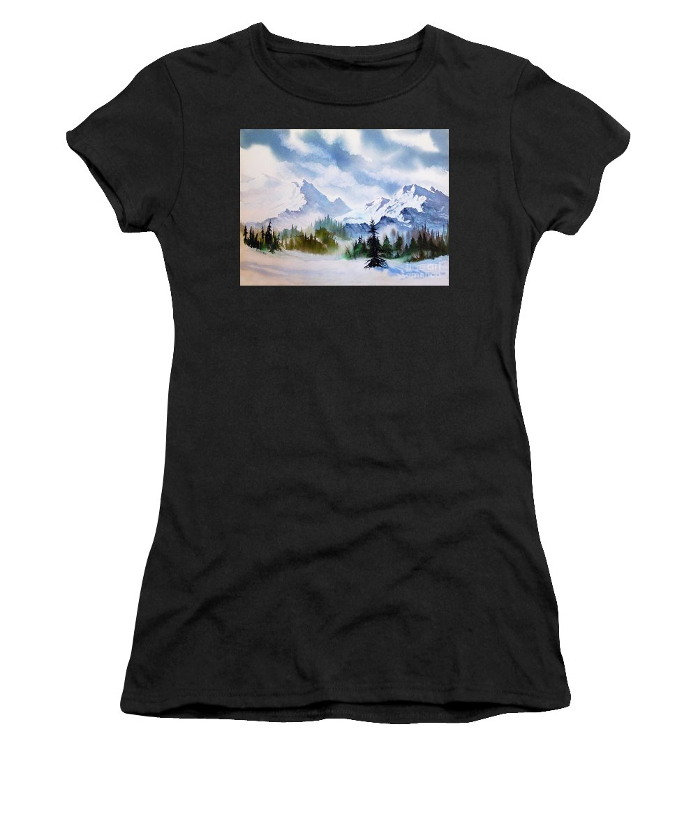 Rugged Wild Women's T-Shirt featuring the painting Rugged Wild by Teresa Ascone