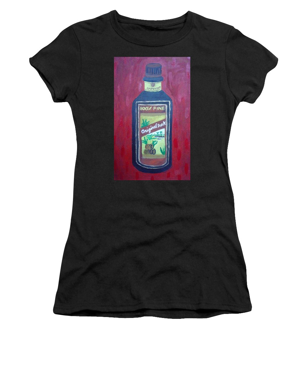 Oil On Canvas Women's T-Shirt (Athletic Fit) featuring the painting Rum by Patrice Tullai